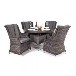 Amalfi High Back 4 Seat Grey Rattan Outdoor Dining Set £945 Flatpack £925