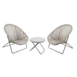 Faux Rattan Folding Lounge Set - Natural