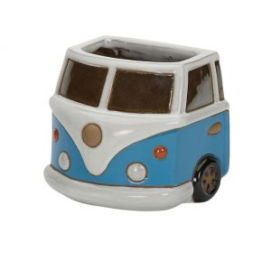 Glazed Camper Van Wall Planter Blue