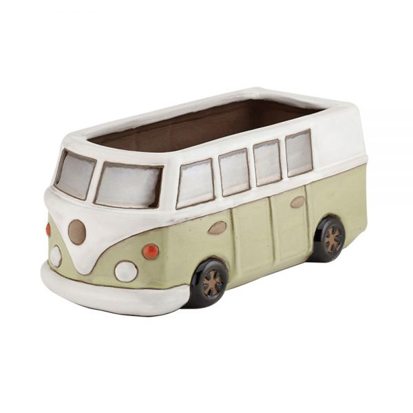 Glazed Green Camper Van Planter