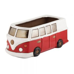 Glazed Red Camper Van Planter