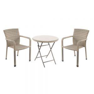Grey Table & Aluminium Chair Set