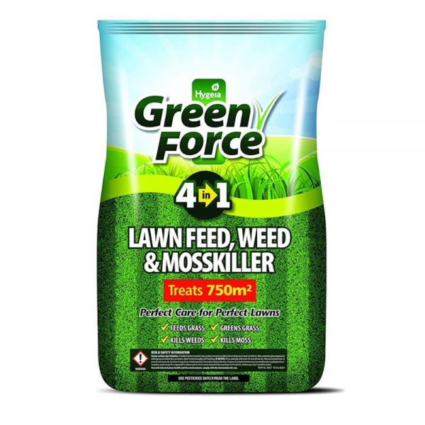 Green Force 4 in 1 Lawn Feed, Weed & Mosskiller 750m2
