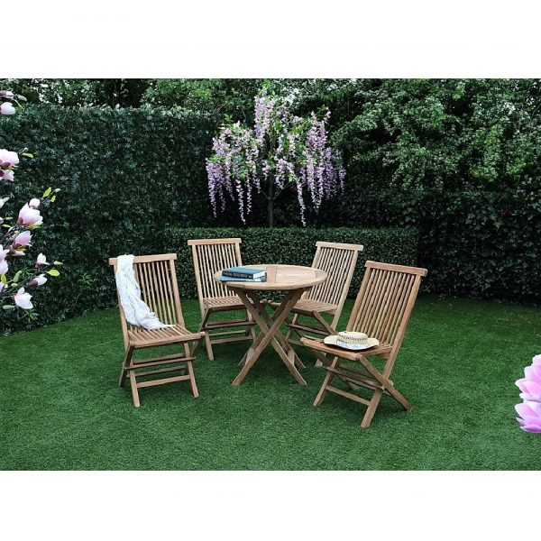 Java Folding Wooden Table & 4 Chair Set
