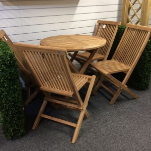 Java Folding Wooden Table & 4 Chair Set Display