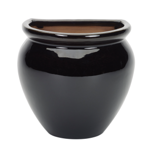 Glazed Wall Jar Black
