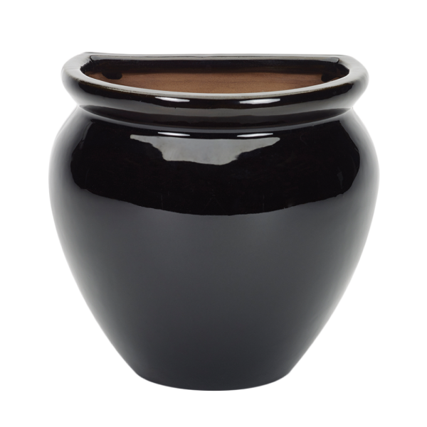 Glazed Wall Jar Black