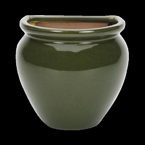 Glazed Wall Jar Green