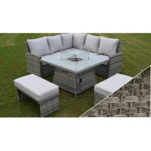 Amalfi Casual Dining Firepit Set - Dark Grey (MJT-791)