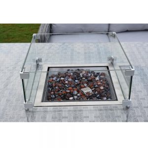 Amalfi Casual Dining Firepit Set - Dark Grey (MJT-791) Glass